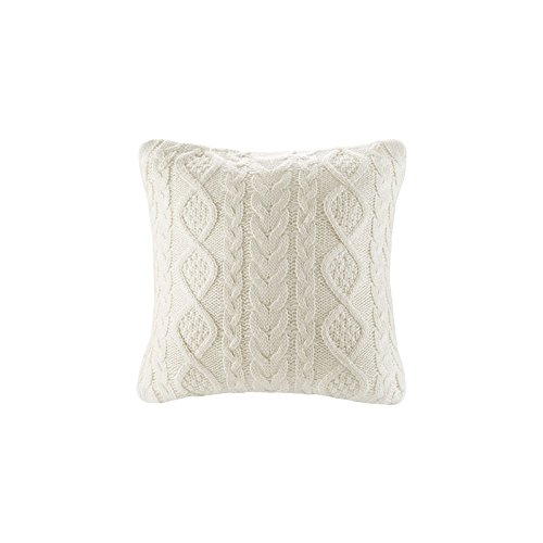 (DOKOT Cable Knit Throw Pillow Cover Sweater Knitting Square Warm Throw Pillow Cover/Cushion Cover 100% Cotton (Cream, (18x18 inches(45x45cm)))