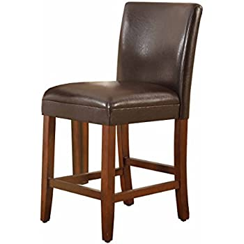 Charmant HomePop Parsons Leatherette Counter Height Chair, 24 Inch, Brown