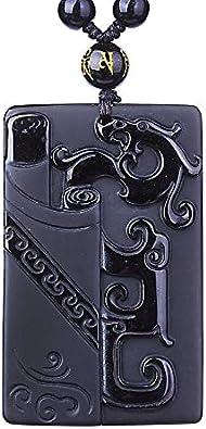 Colgante De Obsidiana Negra Colgante De Obsidiana Dragón Antiguo Colgante De Jade Joyas De Jade Joyas para Hombres Joyas para Mujeres