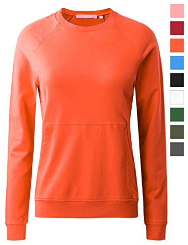 Regna X Women's Crew Neck Long Sleeve Pullover Sweatshirt (16 Colors, S 3X, We Have Plus Sizes)
