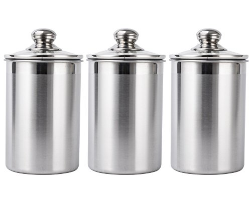 Vencer 3 Piece Set Large Sized 64oz,1.9L Each,304 Stainless Steel Canister Set with Glass Lids, Coffee, Tea, Sugar, Flour Canister for ()