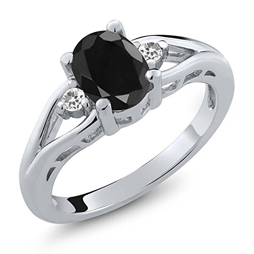 170-Ct-Oval-Black-Sapphire-and-White-Sapphire-925-Sterling-Silver-Womens-Ring-Available-in-size-5-6-7-8-9