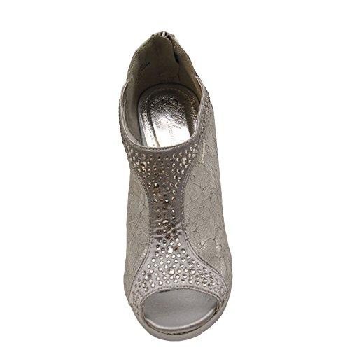 Blossom - Yael 09 - Embellished Peep Toe Lace Booties Silver F0iYMGBZ0