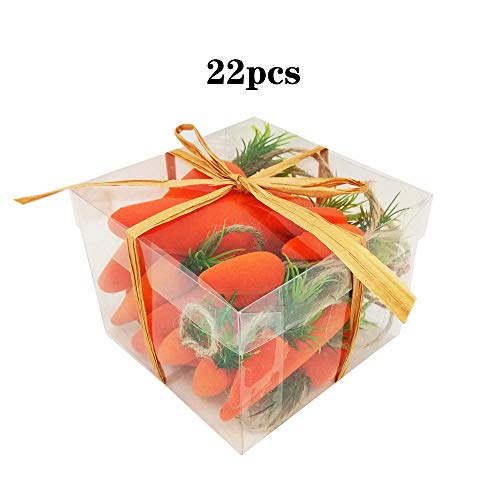 22pcs/pack Easter Flocking Foam Carrots hanging Spring Party Decoration with various -