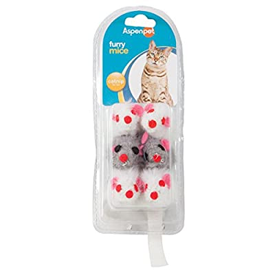 Aspen Pet 58071 Petmate Soft Bite Cat Toy, Small, Natural Mice, 6-Pack