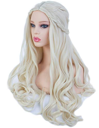 Angelaicos Women's Long Wavy Blonde Wig Halloween Costume Cosplay Party Braids Wigs]()