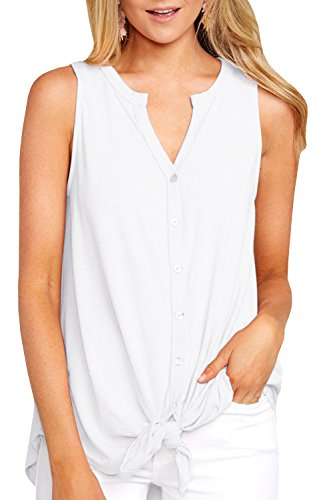 Ivay Women's Sleeveless Tie Front Henley Shirts Button up Tank Top White