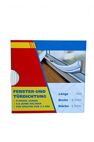 10m Fensterdichtung Türdichtung Dichtungsband Gummi SELBSTKLEBEND P-PROFIL Weiß empasa
