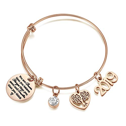 AZORA Inspirational Bracelet 2019 Graduation Gift Jewelry You are Braver Than You Think withTree of Life Charm Engraved Graduate Gift for Teen Girls Women (Best Selling Products On Etsy 2019)