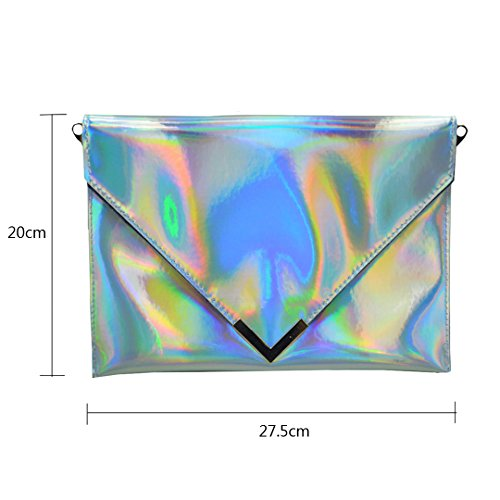 Handbag Clutch Holographic Women's Envelope AiSi PU Leather Silver Purse YXgPwnqz
