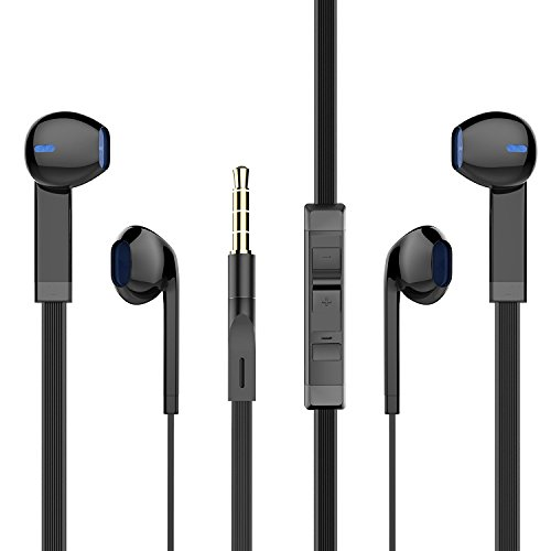Apple In Ear Headphones Iphone (In Ear Headphones, PWOW Wired Earphones iPhone Earphones Earbuds with Microphone and Remote Control 2 Packs)