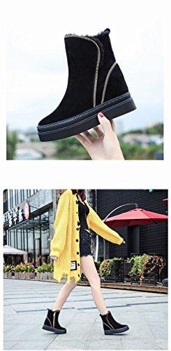 Gruesas Para Y Abrigadas Zh Algodón De Nieve Negro Con Calzado Invierno Botas Mujeres B88IawAq
