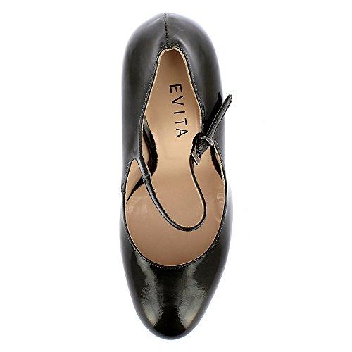 Grigio Tacco Shoes Donna Scuro Col Cristina Scarpe Evita zvpwY