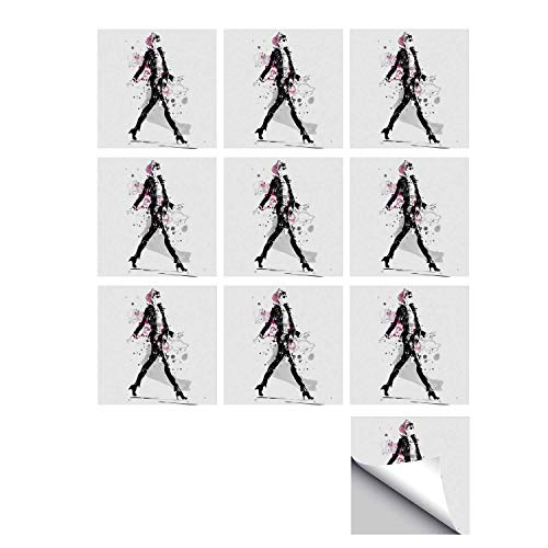 - C COABALLA Fashion Stylish Ceramic Tile Stickers 10 Pieces,Glamorous Stylish Sexy Woman Model on Catwalk Runway in Vintage Clothes Design for Kitchen Living Room,7