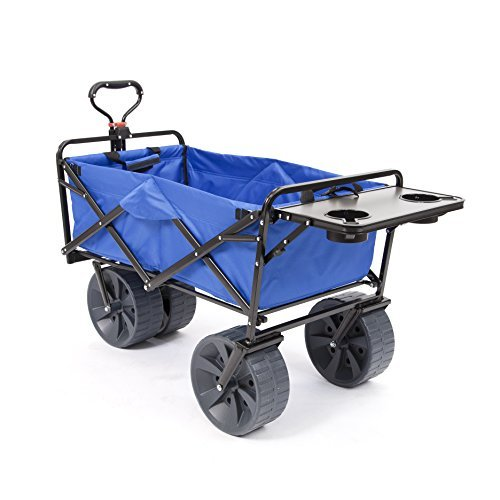 - Mac Sports Heavy Duty Collapsible Folding All Terrain Utility Wagon Beach Cart with Table - Blue