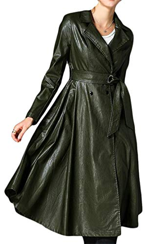 Blyent Womens Lapel Neck Belt Autumn Faux Leather Pleated Swing Jacket Trenchcoats Army Green XS -