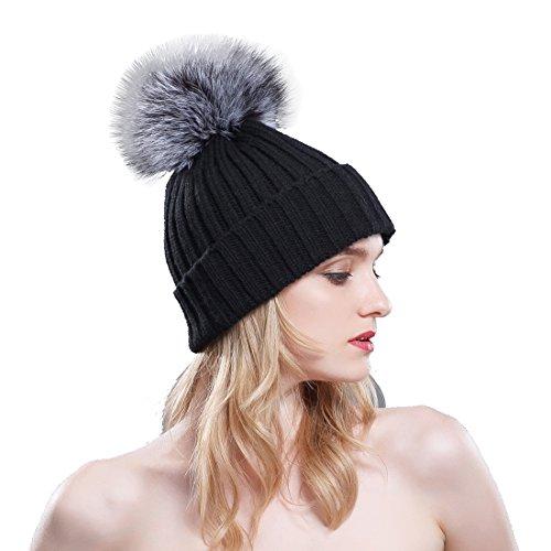 Fox Fur Trim Hat (Thermal Winter Fur Hat Fox Raccoon Fur Ball Female Knitted Hat Lovers Hat (Black & Silver Fox Ball))