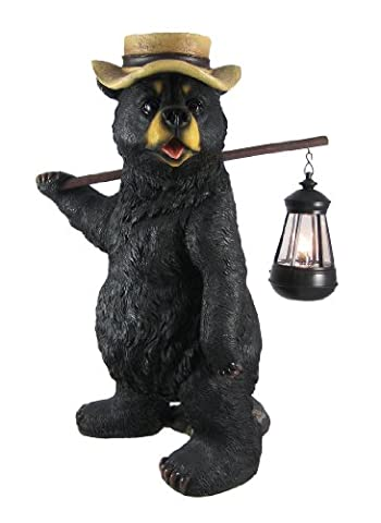 Funny Country Bear W/ Lantern Statue Outdoor Figure