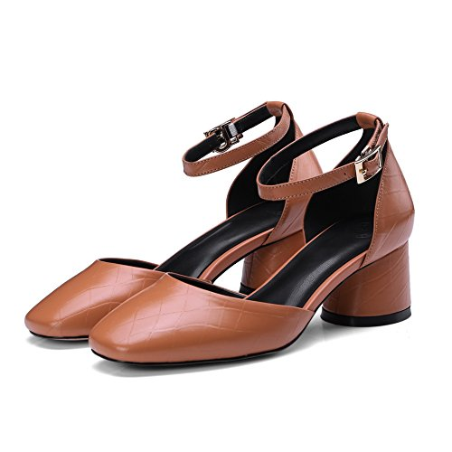 Kitten Sandals Womens DIU00607 Heels Brown Toe AN Urethane Sandals Closed wPx4xRq
