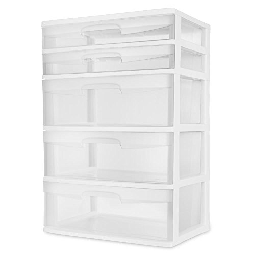 Sterilite 5 Drawer Wide Tower- White (Drawers Sterilite Storage)