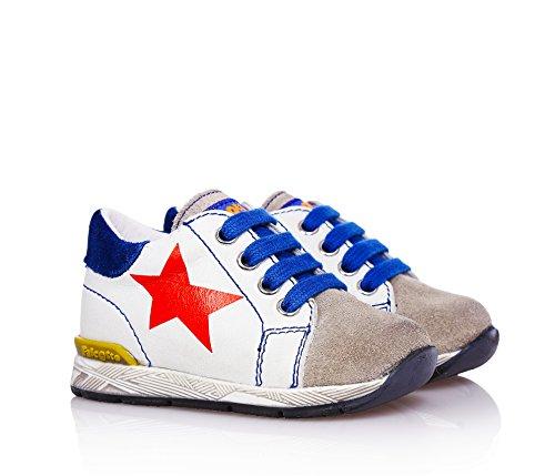 FALCOTTO - Chaussure blanche à lacets, en cuir,bébé (garçon)