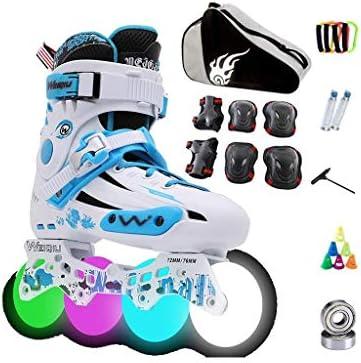 大人の屋外コンボインラインスケート、女性レジャーインラインスケート、ライトホイール付きインラインスケートユースギフトブラックブルーブルー