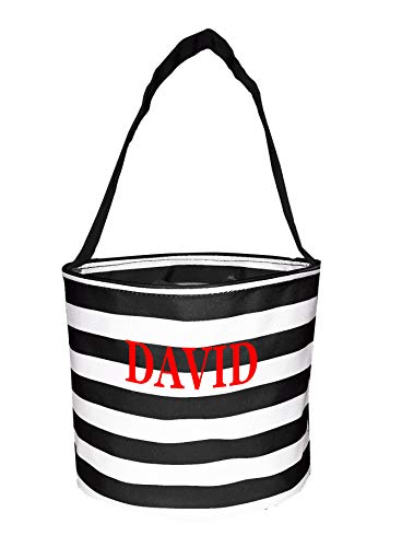 Fabric Bucket Tote Bag for Children - Toys - Easter Basket - Can Be Personalized (Black Stripe - Embroidered -