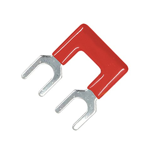 Suyep 2 Positions 25A Wire Connector Pre Insulated Fork Type Barrier Spades Terminal Strip Jumper Block TB2502 (10, Red)