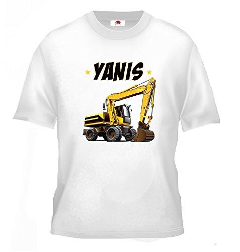 Tee shirt enfant tracteur pelleteuse personnalis/é avec votre pr/énom