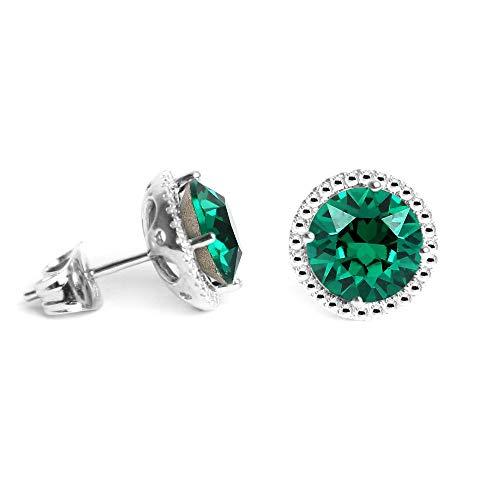 Glimmering Swarovski Earrings, May Birthstone Emerald Color Swarovski Stud Earrings for Women and Girls, Swarovski Crystal Earring Studs with Certificate and Warranty, Hypoallergenic Stud -