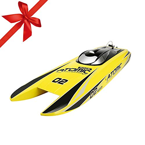 Cheap FunTech RC Boat Super Fast Brushless Remote Control Boats 40 Mph+ 2000KV Powerful Motor, Electric Racing RC Boats PNP Version - NO Battery NO Radio Controlled, 28 inch, Yellow rc electric boats