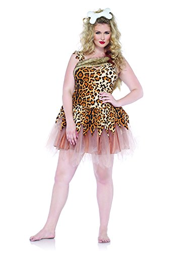 Leg Avenue Women's Plus-Size 2 Piece Cave Girl Cutie Costume, Tan, 1X/2X