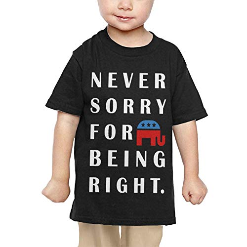 Price comparison product image Pipi66xiami Girls Never Apologize for Being Right Unisex Infants Crew Neck Short Sleeve Tee