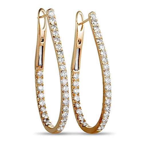 - Odelia LB Exclusive 18K Rose Gold Full Diamond Pave Inside Out Hoop Earrings