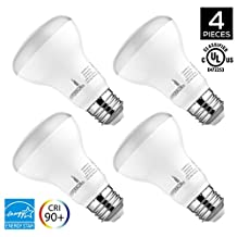BR20 LED Bulb, Hyperikon, 8W (50W equivalent), 4000K (Daylight White), Wide Flood Light Bulb, 120° Beam Angle, Medium Base (E26), Dimmable, UL-Listed - (Pack of 4)