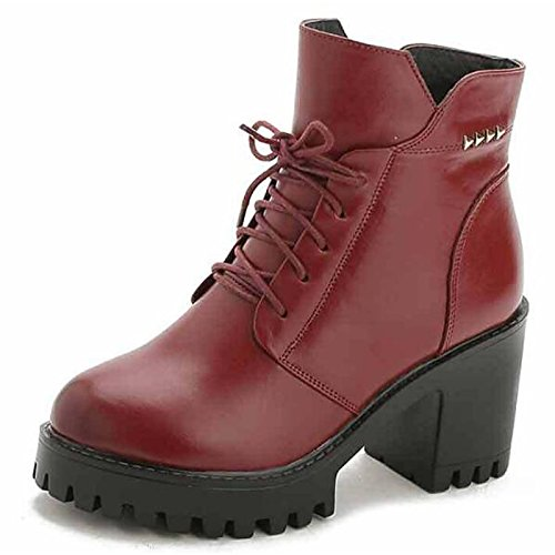 Red US6.5-7   EU37   UK4.5-5   CN37 Red US6.5-7   EU37   UK4.5-5   CN37 HSXZ Women's shoes Real Leather Winter Fall Comfort Boots Walking shoes Chunky Heel Round Toe Booties Ankle Boots Ribbon Tie For Casual Red