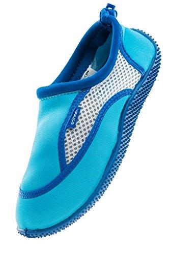 Badeschuhe Meer See Füsse Wasserschuhe Strand für als Damen Redeo Schutz für Aquaschuhe Ideale Leicht Blau Weiß Martes Szfwq41HY