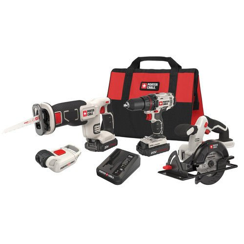 Porter-Cable PCCK616L4R 20V Max Cordless Lithium-Ion 4-Tool Combo Kit (Certified Refurbished) (Porter Cable Cordless Reciprocating Saw)
