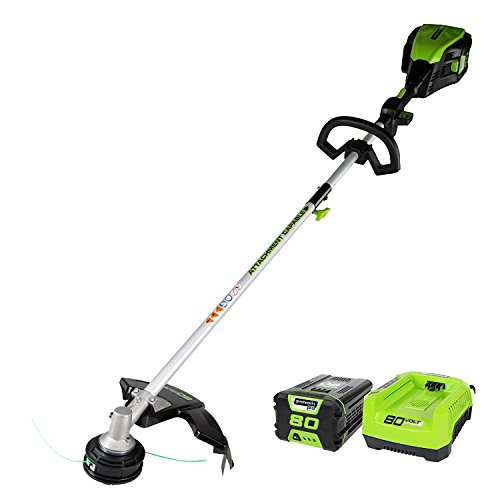 GreenWorks 80V String Trimmer (Attachment Capable), 2.0Ah Battery & Charger Included GST80320
