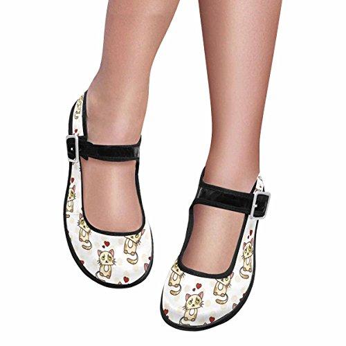 Interestprint Mujeres Comfort Mary Jane Flats Zapatos Casual Para Caminar Multi 4