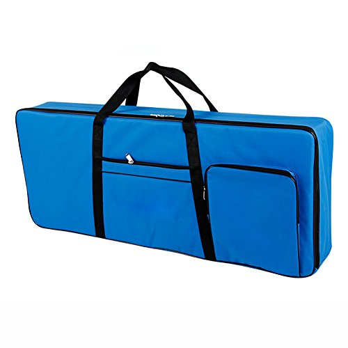 61 Key Keyboard Gig Bag Padded Case, Portable Electric Keyboard Piano 600D Oxford Cloth with 10mm Cotton Case Gig Bag 40''x16''x6'' GJB54 (blue) by QEES