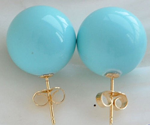 Aaa Seashell Pearl Necklace - YorYing 12mm Tturquoise Blue South Sea Shell Pearl 18KGPStud Earrings AAA