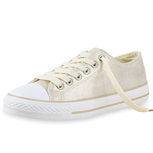 Japado Bequeme Unisex Sneakers Low-Cut Modell Basic Freizeit Schuhe Viele Farben Gr. 36-45 Creme