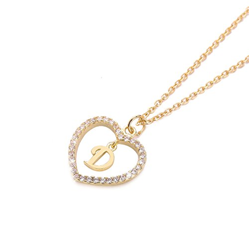 One Love Heart Necklace - HolyFast Charm Necklace Message Card One in A Million Letter D Necklace Initial Necklace Heart Love Necklace CZ Cubic Zirconia Pendant Love Necklace Woman Jewelry