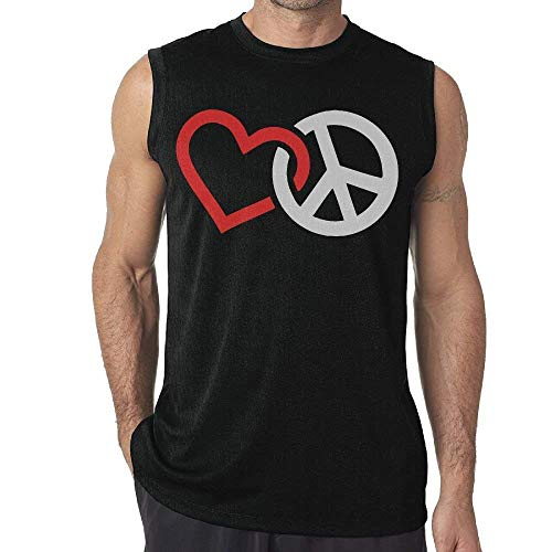 Love Peace Sign Mens Sleeveless Tank Top T-Shirt Casual Gym Vest Tee