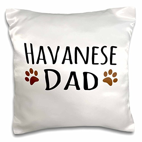 InspirationzStore Pet designs - Havanese Dog Dad - Doggie by breed - brown muddy paw prints - doggy lover proud pet owner love - 16x16 inch Pillow Case (pc_153923_1) -