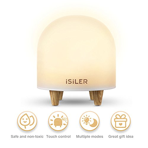 LED Night Light for Kids, iSiLER Portable Silicone Cute Nursery Night Lamp, Romantic Dim Mood Lamp, Touch Control Bedside Lamp, Baby Night light BPA-Free, 48 Hours Runtime (Lamp Baby Bedside)