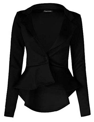 Frill Button (FashionMark Womens Plain Crop 1 Button Peplum Frill Blazer Jacket Coat)