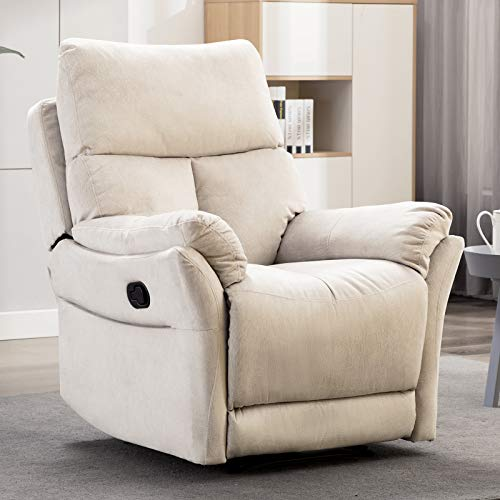 ANJ Manual Recliner, Living Room Reclining Chair Soft with Overstuffed Armrest and Back, Beige NOT Swivel (Overstuffed Recliner Chairs)