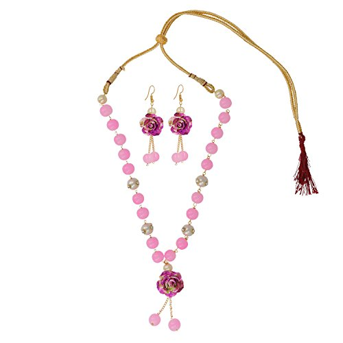 Be You Pretty Pink Color Beads & Kundan Balls Rhodium Plated Brass Flower Design Earrings & Necklace Set for Women